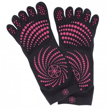 Gaiam Antislip sokken zwart met roze stippen (S/M)
