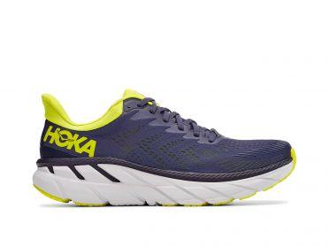 Hoka One One Clifton 7 hardloopschoenen blauw/geel heren