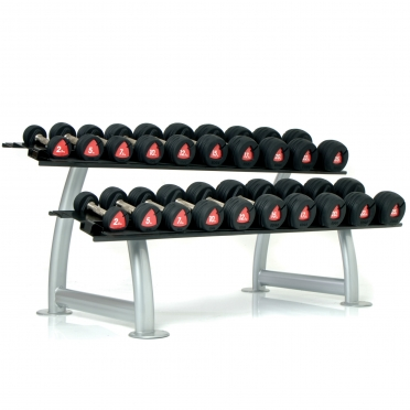 Escape Edge rubber dumbell set & rack 2,5 - 25 KG