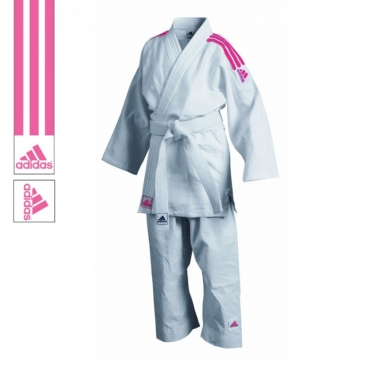 Adidas judopak J350 wit/roze