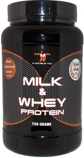 M Double You milk & whey protein aardbei 750 gram
