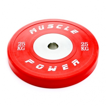 Muscle Power Competitie Bumper Plate rood 25 KG MP809