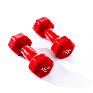 Muscle Power Vinyl Dumbbellset 2 x 3 KG Rood MP920