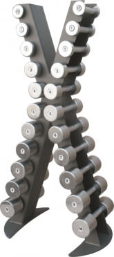 X-Line dumbbell rack with a set of chrome dumbbells 0.5 -10 kg XR410