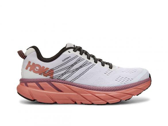 Hoka One One Clifton 6 hardloopschoenen wit/roze dames  1102873-NCLN