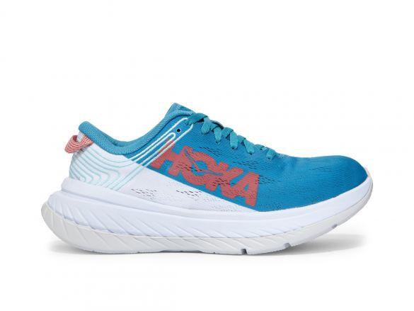 Hoka One One Carbon X hardloopschoenen wit/blauw dames  1102887-CSWT