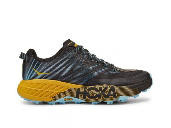Hoka One One Speedgoat 4 trail hardloopschoenen zwart/geel dames  1106527-ASAT