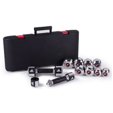 Adidas Dumbbell Set Carbon inclusief koffer (AD10016)  AD10016