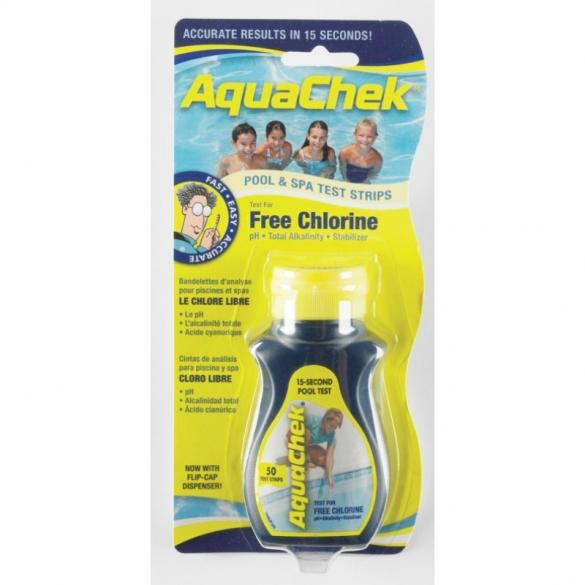 AquaChek teststrips vrij chloor test yellow 50 stuks  LTchekvrij