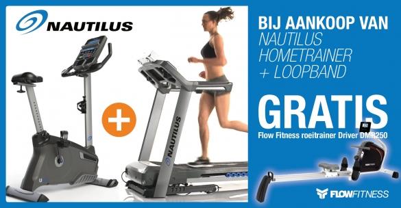 Nautilus Hometrainer U626 + loopband T626 met gratis DMR250 roeier  combinautflow2