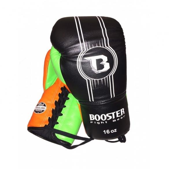 Booster Pro Range BGL V6 leren bokshandschoenen zwart/oranje/groen  BGL1-V6-zog