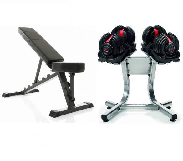 Bowflex 1090i S selecttech haltersysteem 40,8 kg pair + standaard + bench  100320-100244-F3865