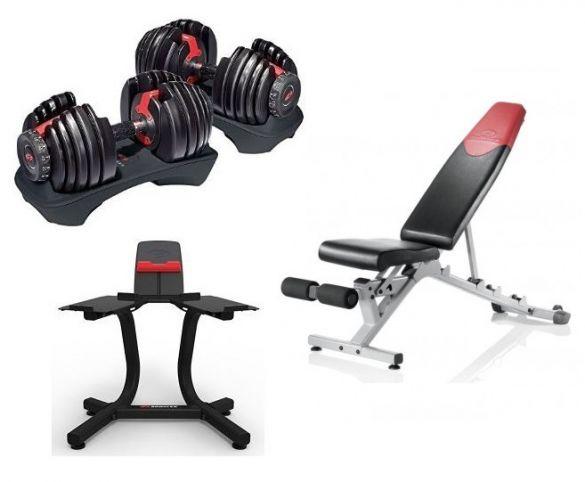 Bowflex 1090i S selecttech haltersysteem 40,8 kg pair + standaard + bench  100401 - 100736 - 100320