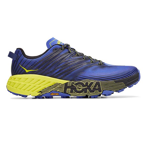 Hoka One One Speedgoat 4 trail hardloopschoenen blauw/geel heren  1106525-BIEP