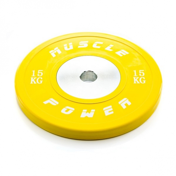 Muscle Power Competitie Bumper Plate geel 15 KG MP809  MP80915KGGEEL