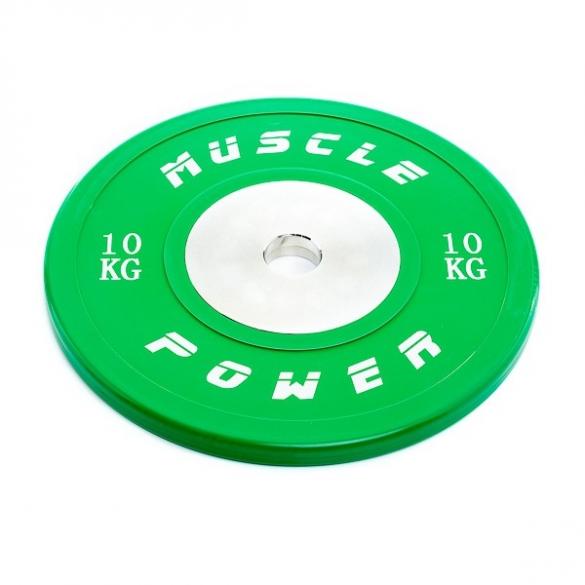 Muscle Power Competitie Bumper Plate groen 10 KG MP809  MP80910KGGROEN