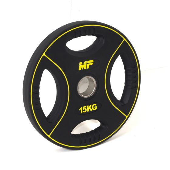 Muscle Power 50mm PU halterschijf 4 grip 15 kg  MP805/15kg