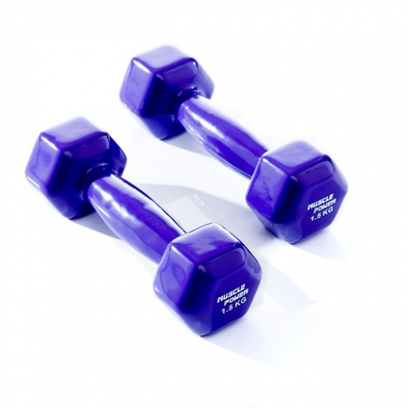 Muscle Power Vinyl Dumbbellset 2 x 1,5 KG Paars MP920  MP920-1,5KG