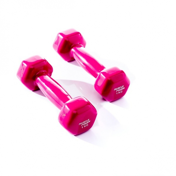 Muscle Power Vinyl Dumbbellset 2 x 1 KG Paars MP920  MP920-1KG