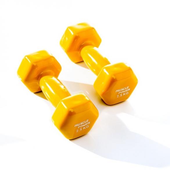 Muscle Power Vinyl Dumbbellset 2 x 2,5 KG Geel MP920  MP920-2,5KG
