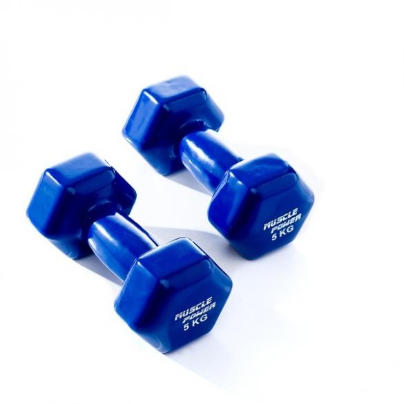 Muscle Power Vinyl Dumbbellset 2 x 5 KG Blauw MP920  MP920-5KG