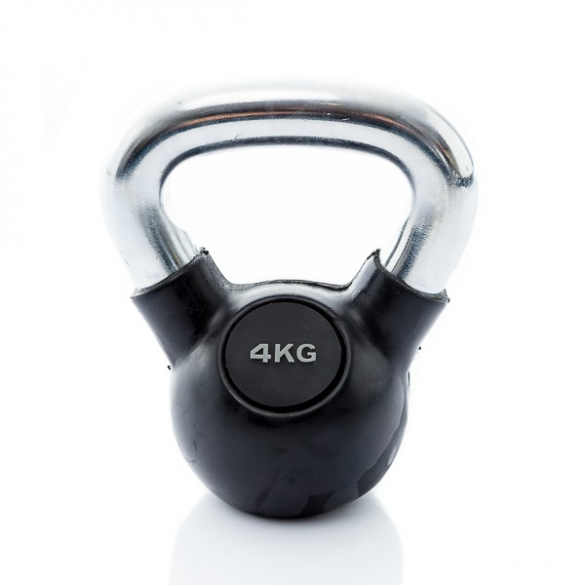 Muscle Power Kettlebell Rubber - Chrome 4 KG MP1301  MP1301-4