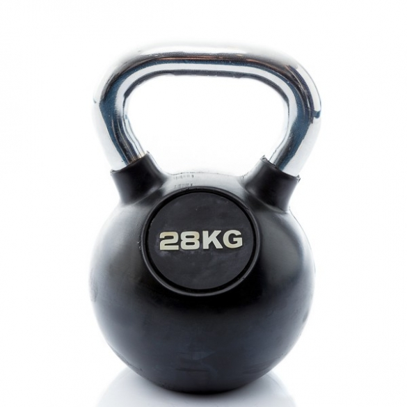 Muscle Power Kettlebell Rubber - Chrome 28 KG MP1301  MP1301-28