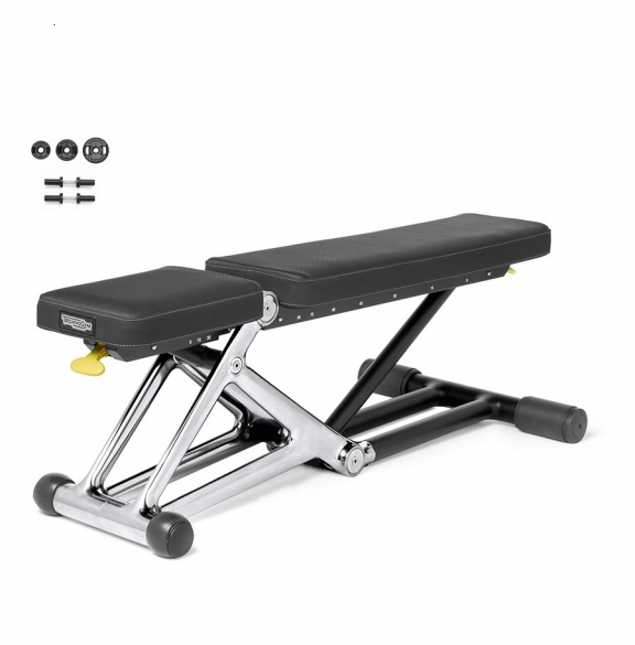 Technogym Bench Personal Chrome met 55 KG dumbbell set  MD10KA