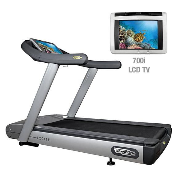 TechnoGym loopband Run Excite 700i.e classic zilver met LCD TV gebruikt  BBTGRE700IeCLCDTV
