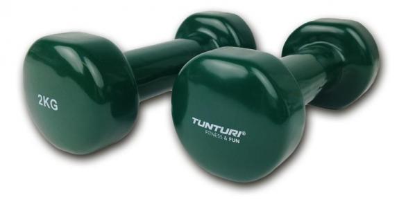 Tunturi Dumbells Vinyl Overtrokken Gietijzer Groen 2 kg 14TUSFU110  14TUSFU110