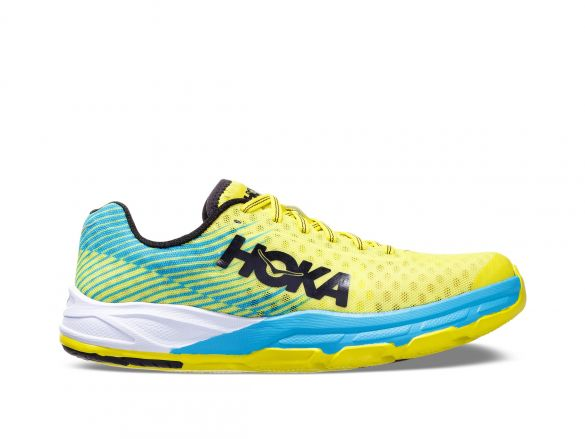 Hoka One One Evo Carbon Rocket hardloopschoenen blauw/geel dames  1100050-CCYN