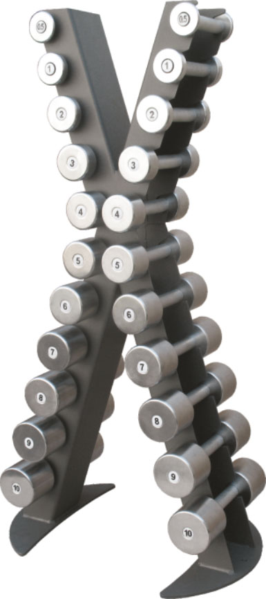 X-Line dumbbell rack with a set of chrome dumbbells 0.5 -10 kg  XR410